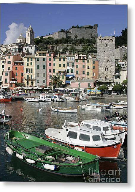 Cinqueterre Boats Greeting Card by Stan and Anne Foster