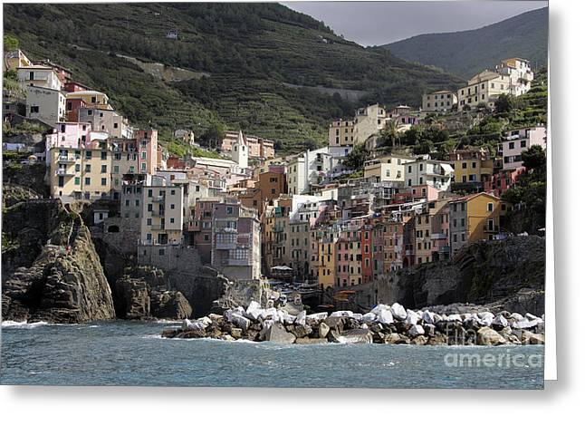 Cinqueterre From The Sea Greeting Card by Stan and Anne Foster