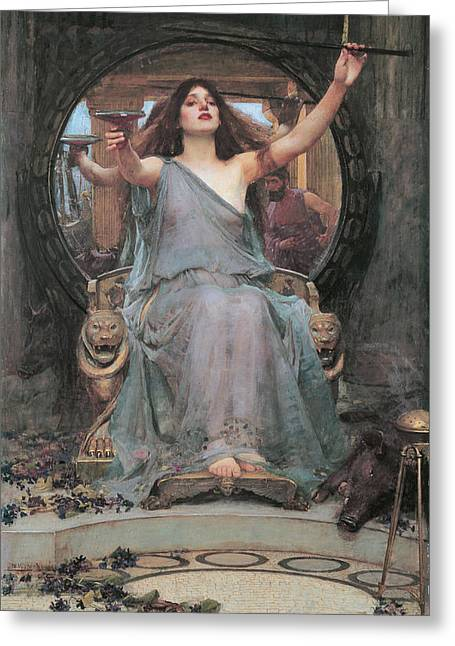 Circe Offering The Cup To Odysseus Greeting Card by John William Waterhouse