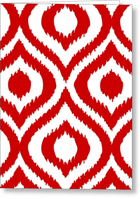 Circle And Oval Ikat In White T02-p0100 Greeting Card by Custom Home Fashions