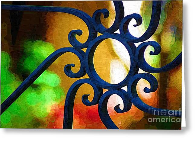 Circle Design On Iron Gate Greeting Card