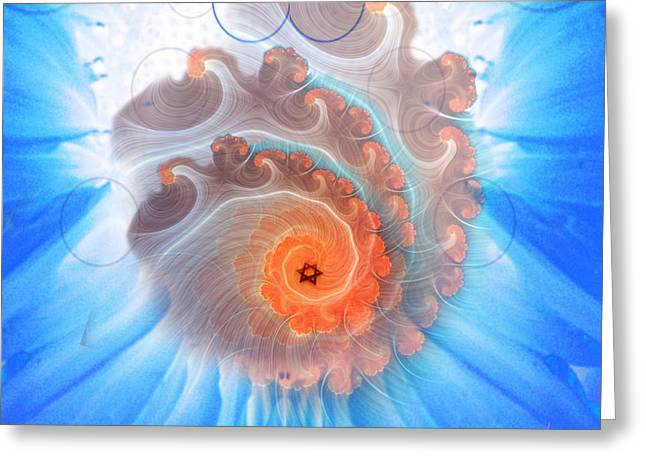 Circle Fire Blue Greeting Card by Gaela Cohen