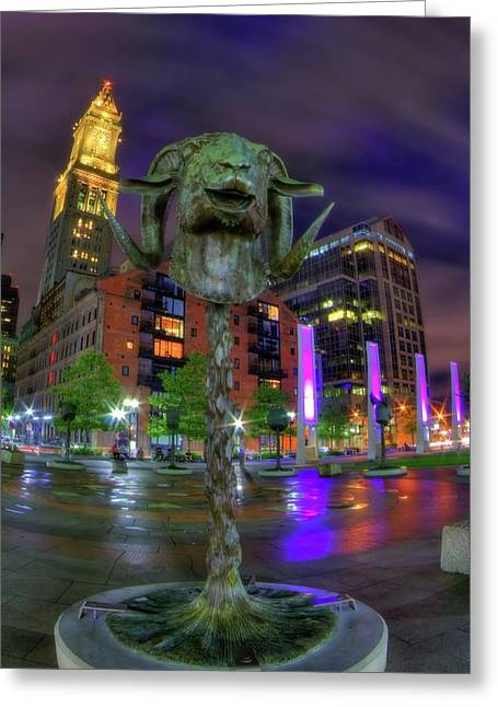 Circle Of Animals - Chinese Zodiac Ram Head - Rose Kennedy Greenway - Boston Greeting Card by Joann Vitali