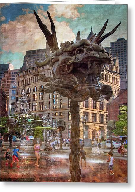 Circle Of Animals/zodiac Heads - Boston Greeting Card by Joann Vitali