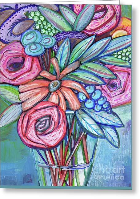 Circle Of Flowers Greeting Card by Anne Seay