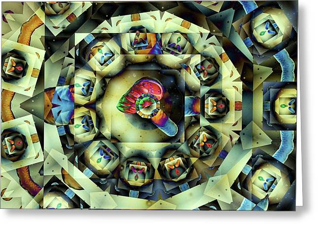 Greeting Card featuring the digital art Circled Squares by Ron Bissett