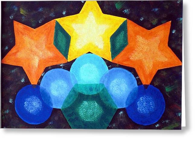 Circles And Stars Greeting Card by Nancy Otey