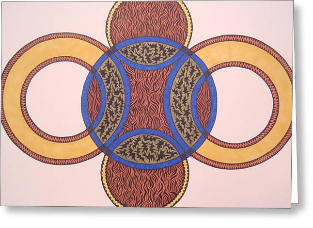 Greeting Card featuring the drawing Circles In Ink by Beth Akerman
