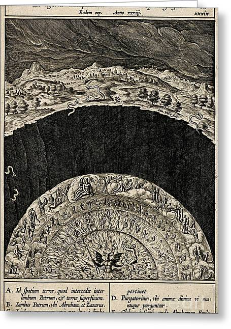 Circles Of Hell And Limbo, Jan Wierix Greeting Card by Wellcome Images