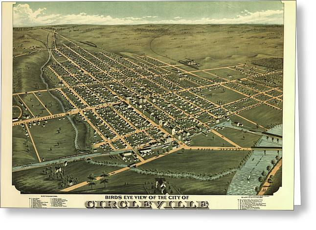 Circleville Ohio 1876 Greeting Card by Mountain Dreams
