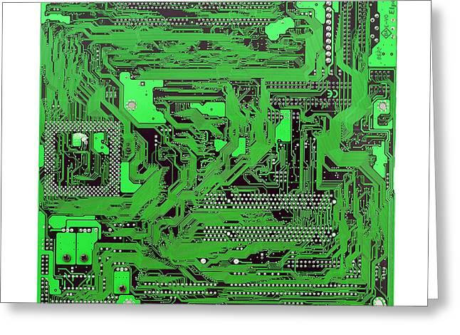 Circuit Board Greeting Card by Cristian M Vela
