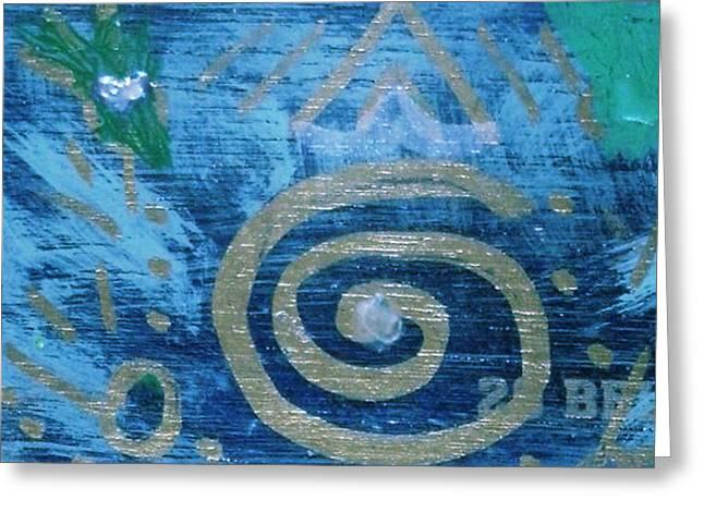 Circular Gold On Blue Greeting Card by Anne-Elizabeth Whiteway