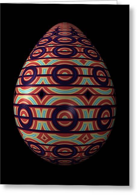 Circular Ornament Egg Greeting Card by Hakon Soreide