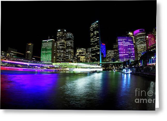Circular Quay, Vivid Sydney Greeting Card