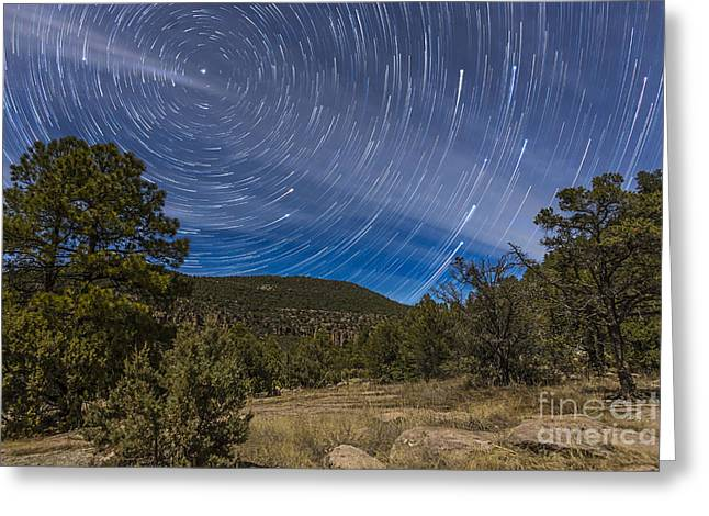 Circumpolar Star Trails Over The Gila Greeting Card
