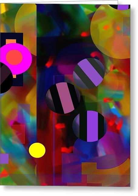 Greeting Card featuring the digital art Circus Balls by Lynda Lehmann