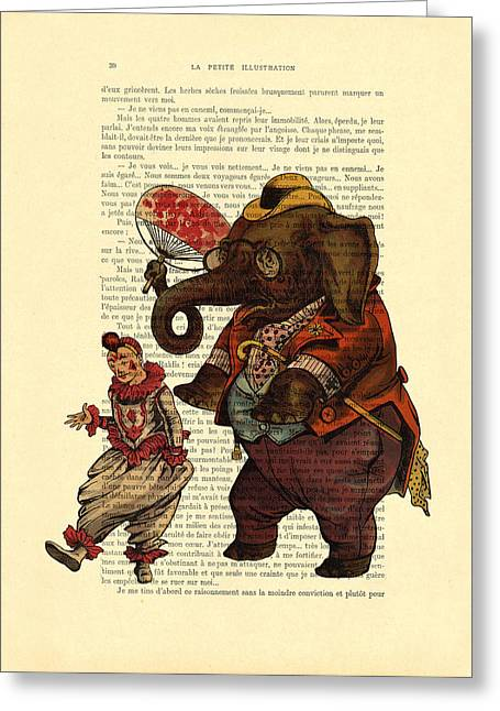 Clown With Circus Elephant Vintage Illustration Greeting Card