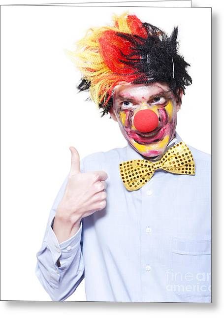 Circus Clown With Thumb Up To Carnival Advertising Greeting Card