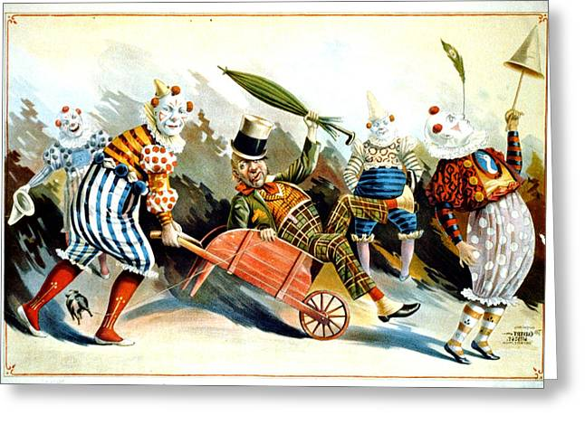 Circus Clowns - Vintage Circus Advertising Poster Greeting Card