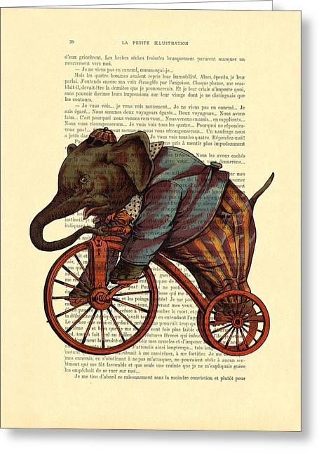 Circus Elephant On Bicycle Greeting Card by Madame Memento