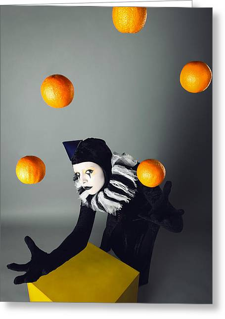 Circus Fashion Mime Juggles With Five Oranges. Photo. Greeting Card by Kireev Art