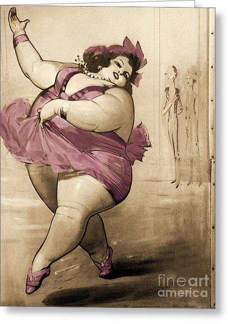 Circus Fat Lady Greeting Card
