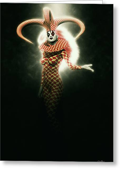Circus Of Horrors - Mysterious Jester Woman Greeting Card by Joaquin Abella