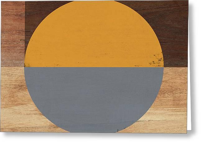 Cirkel Yellow And Grey- Art By Linda Woods Greeting Card