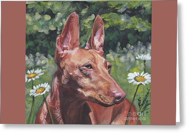 Greeting Card featuring the painting Cirneco Dell'etna by Lee Ann Shepard