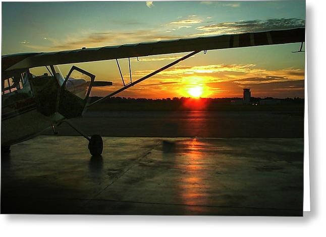 Citabria Peeking Out Of The Hangar Door Greeting Card by Phil Rispin