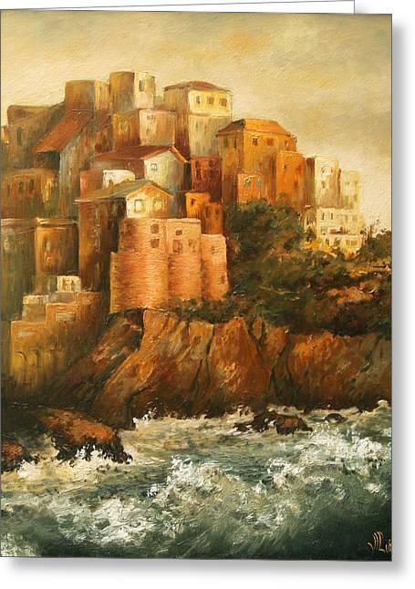 Cinque Terre Lerici Italia Painting Greeting Card by Vali Irina Ciobanu