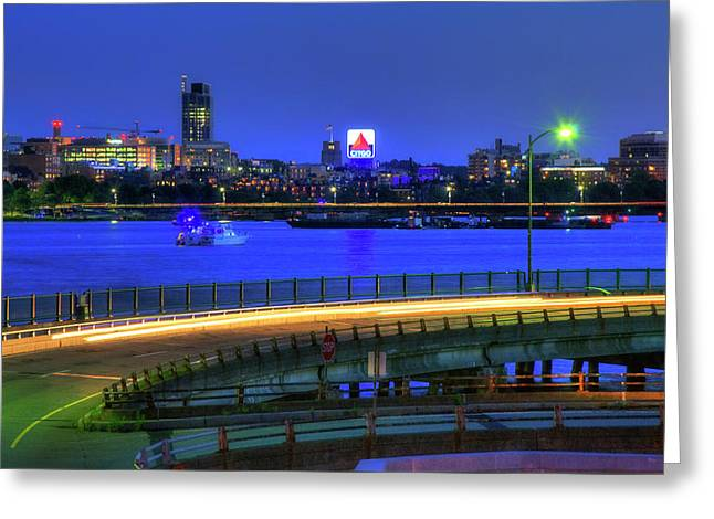 Citgo Sign Across The Charles River - Boston Greeting Card