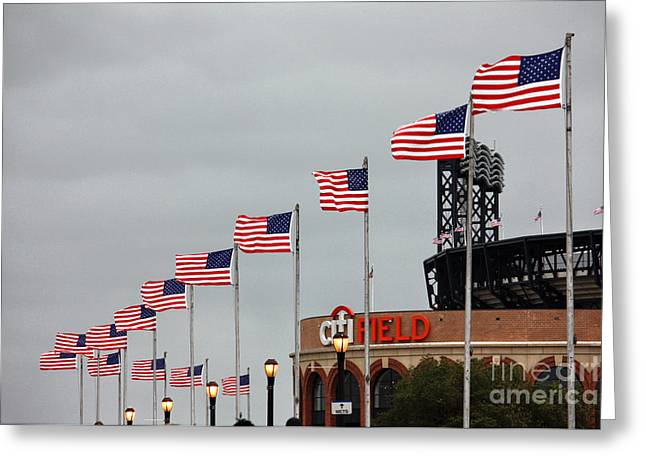 Citifield And American Flags Greeting Card by Nishanth Gopinathan