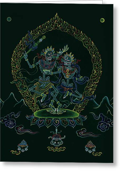 Bodhisatva Greeting Cards - Citipati -The Lord and Lady of the Charnel Grounds Greeting Card by Carmen Mensink