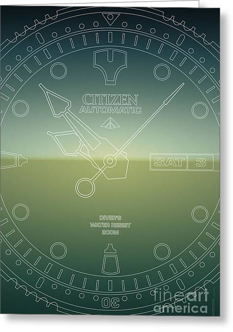 Citizen Automatic Divers Watch Outline Poster Greeting Card