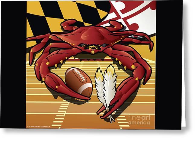 Citizen Crab Redskin, Maryland Crab Celebrating Washington Redskins Football Greeting Card
