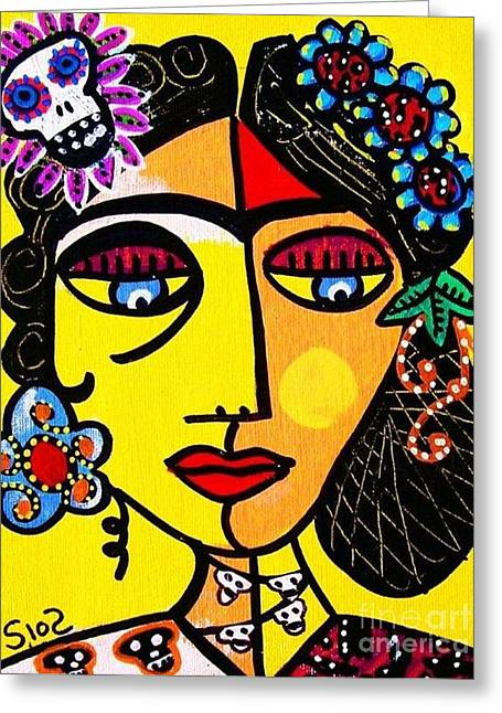 Citrine Sugar Skull Frida Greeting Card by Sandra Silberzweig