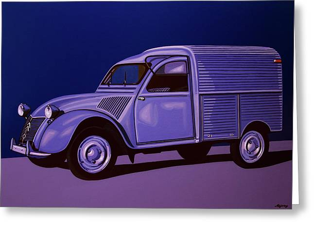 Citroen 2cv Azu 1957 Painting Greeting Card
