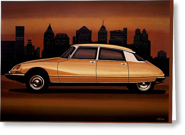 Citroen Ds 1955 Painting Greeting Card