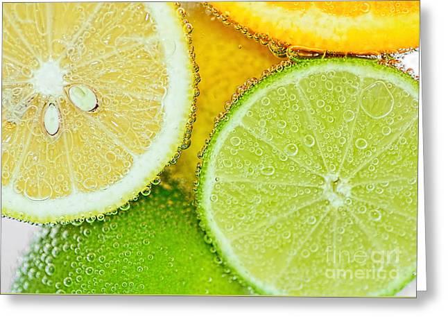 Citrus Fresh By Kaye Menner Greeting Card by Kaye Menner