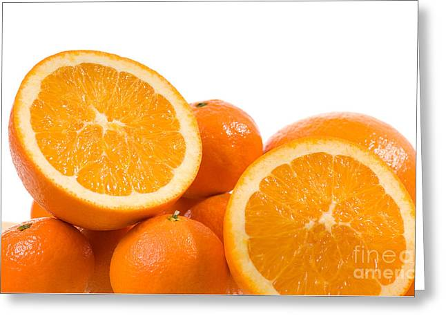 Citrus Fruits Mandarine And Orange On White  Greeting Card by Arletta Cwalina