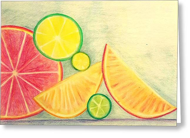 Citrus Fruits Greeting Card by Nermine Hanna