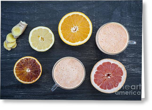 Citrus Smoothies Greeting Card by Elena Elisseeva