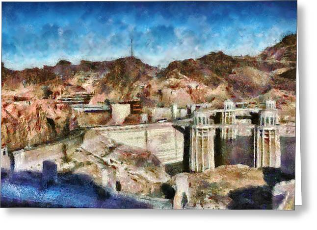 City - Nevada - Hoover Dam Greeting Card by Mike Savad