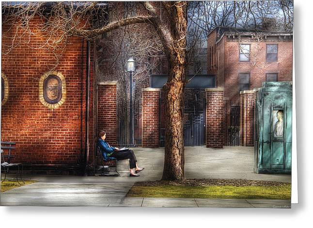 City - Newark Nj - Always Waiting  Greeting Card by Mike Savad