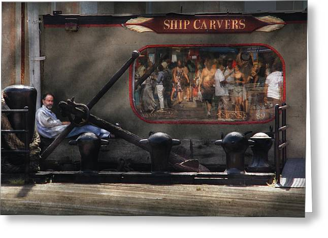 City - Ny South Street Seaport - Ship Carvers Greeting Card