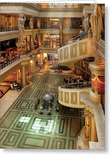 City - Vegas - Cesar's - The Forum Shops At Cesar's Palace Greeting Card by Mike Savad