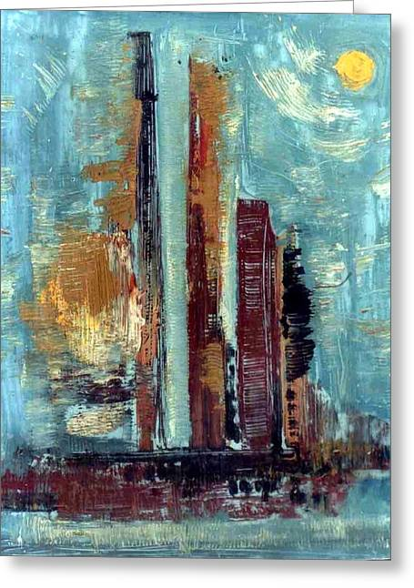City Abstraction Greeting Card by Anand Swaroop Manchiraju