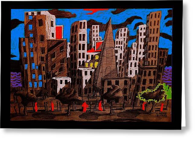 City - Abstraction Greeting Card by Chris Boone
