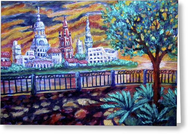 City Across The River Greeting Card by Sebastian Pierre
